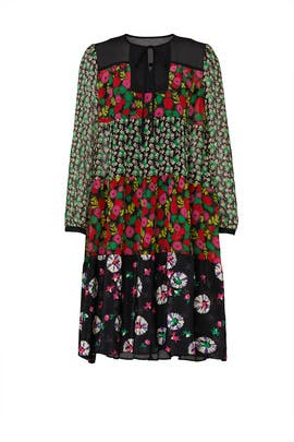 Pop Petunia Mixed Print Dress by Anna Sui