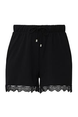 Black Lace Hem Shorts by JUNAROSE