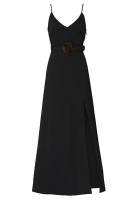 Black Belted Slip Gown by Nicholas