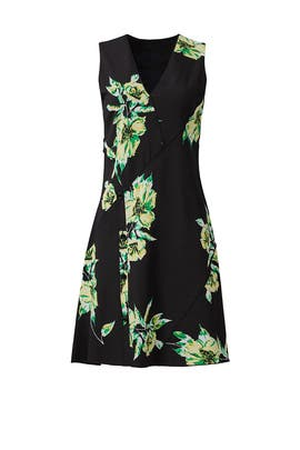 Black Floral Asymmetrical Dress by Proenza Schouler