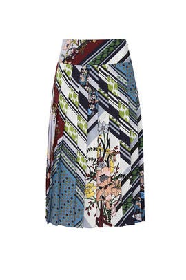Patchwork Pleated Skirt by Tory Burch