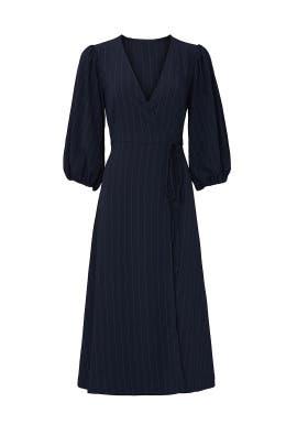Blue Striped Wrap Dress by GANNI