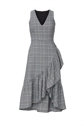 Houndstooth Ruffle Hem Dress by Great Jones