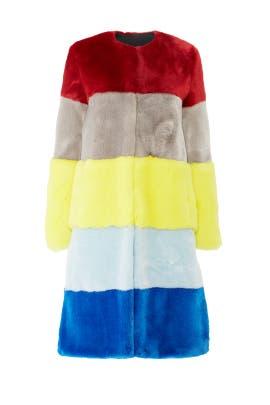 Ona Faux Fur Patchwork Coat by Osman