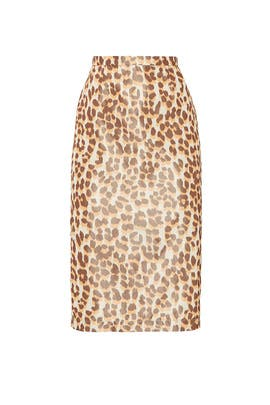 Leopard Fitted Midi Skirt by Rochas