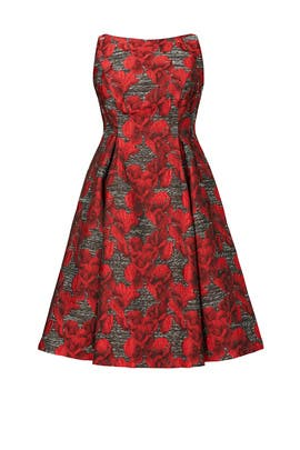 Crimson Floral Print Dress by Adrianna Papell