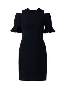 Black Cold Shoulder Ruffle Dress by Rebecca Taylor