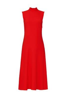Red High Neck Sleeveless Dress by Victoria Victoria Beckham