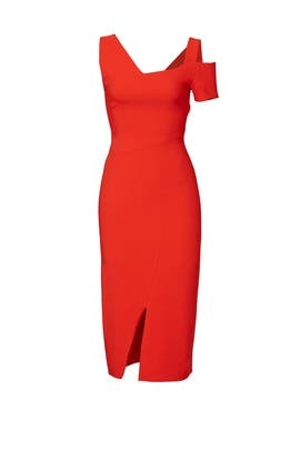 Red Asymmetric Dress by Antonio Berardi