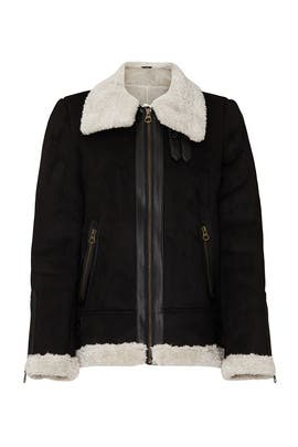 Black Faux Shearling Jacket by VERO MODA