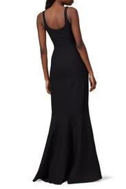 Black Sade Gown by Cinq à Sept