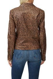 Leopard Smooth Jayne Leather Jacket by VEDA