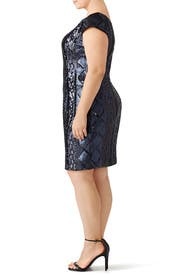 Navy Cable Sequin Sheath by Adrianna Papell