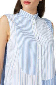 Sleeveless Mixed Stripe Shirt by MONSE