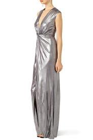 Silver Twist Column Gown by HALSTON