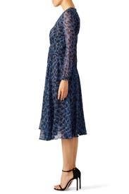 Blue Graphic Printed Midi Dress by DEREK LAM