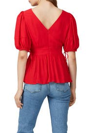 Red Puff Sleeve Tie Top by Proenza Schouler