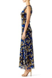 Cobalt Printed Maxi Dress by Fuzzi