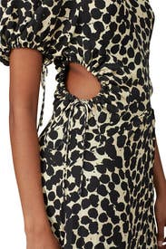 Printed Short Sleeve Cinched Dress by Proenza Schouler