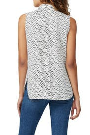 Printed Cowl Neck Shell Top by Adam Lippes