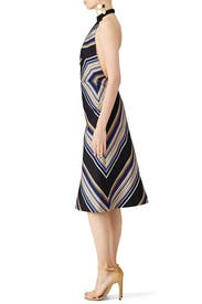 Striped Halter Midi Dress by Martin Grant