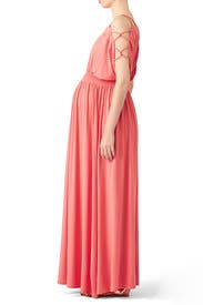 Coral Empire Maternity Maxi by Ingrid & Isabel