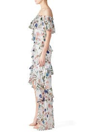 White Floral High Low Maxi by Badgley Mischka