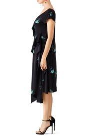 Asymmetric Ruffle Bird Print Dress by Diane von Furstenberg