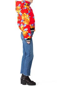 Cropped Floral Puffer Jacket by MSGM