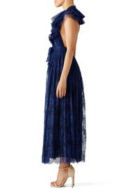 Blue Flamenco Ruffle Halter Gown by Philosophy di Lorenzo Serafini