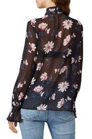 Ruffled Tie Neck Blouse by Badgley Mischka