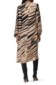 Printed Fluid Bardot Dress by Beaufille