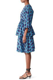Blue Printed Bella Dress by RHODE