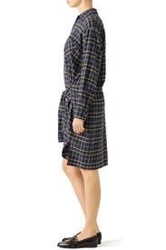 Plaid Tie Shirt Dress by VINCE.