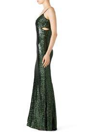 Emerald Sequin Gown by Badgley Mischka