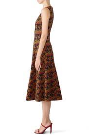 Camel Multi Sleeveless Dress by DEREK LAM