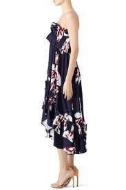 Navy Floral Ruffle Dress by Cedric Charlier