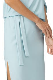Draped Asymmetric Sleeve Midi Dress by HALSTON