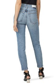 Light Wash High Rise Ankle Crop Jeans by RE/DONE