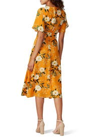 Goldenrod Floral Midi Dress by RACHEL ROY COLLECTION