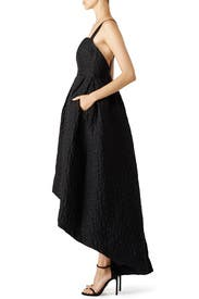 Black Crinkle High-Low Gown by Cynthia Rowley