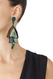 Fern Impatiens Flower Drop Earrings by Oscar de la Renta