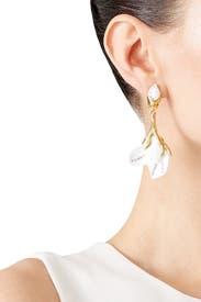 Magnolia Resin Flower Earrings by Oscar de la Renta
