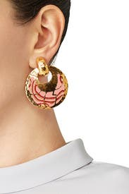 Pink Bo Shagreen Earrings by Gas Bijoux