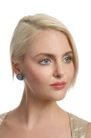 Crystalized Blue Mum Earrings by Janis Savitt