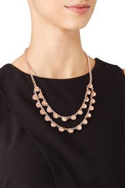 Rose Gold Crystal Layered Necklace by Slate & Willow Accessories