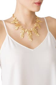 Gold Feather Necklace by Kenneth Jay Lane