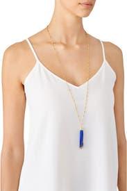 Blue Salina Beaded Long Necklace by Gorjana Accessories