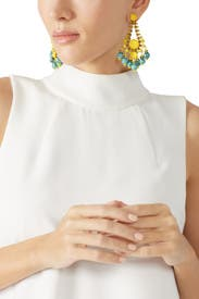 Yellow and Turquoise Statement Earrings by Elizabeth Cole
