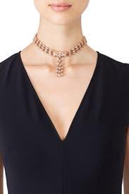 Gold Crystal Tassel Collar by Oscar de la Renta